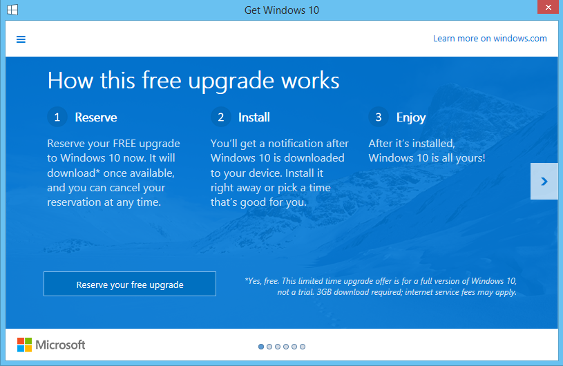 Reserve your Windows 10 upgrade today!
